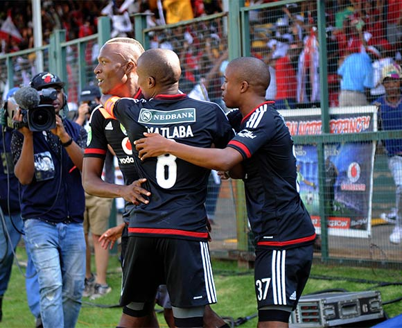 Tendai Ndoro of Orlando Pirates celebrates goal with teammates  during the Nedbank Cup Last 16 match between Jomo Cosmos and Orlando Pirates on 03 April 2016 at Olen Park Stadium Pic Sydney Mahlangu/ BackpagePix
