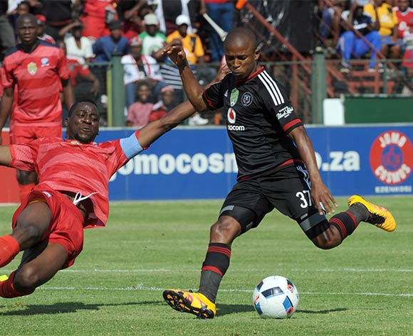 Levy Memela  of Orlando Pirates is challenged by Frederick Nsabiyumva of Jomo Cosmos during the Nedbank Cup Last 16 match between Jomo Cosmos and Orlando Pirates on 03 April 2016 at Olen Park Stadium Pic Sydney Mahlangu/ BackpagePix
