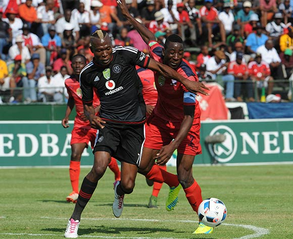 Tendai Ndoro of Orlando Pirates is challenged by Frederick Nsabiyumva of Jomo Cosmos during the Nedbank Cup Last 16 match between Jomo Cosmos and Orlando Pirates on 03 April 2016 at Olen Park Stadium Pic Sydney Mahlangu/ BackpagePix
