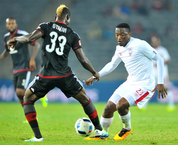 Moeketsi Sekola (r) of Free State Stars challenged by Edwin Gyimah (l) of Orlando Pirates during the Absa Premiership match between Orlando Pirates and Free State Stars at the Orlando Stadium in Johannesburg, South Africa on April 09, 2016 ©Samuel Shivambu/BackpagePix