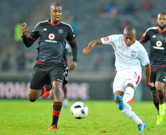 Danny Venter (r) of Free State Stars challenged by Lehlohonolo Masalesa (l) of Orlando Pirates during the Absa Premiership match between Orlando Pirates and Free State Stars at the Orlando Stadium in Johannesburg, South Africa on April 09, 2016 ©Samuel Shivambu/BackpagePix