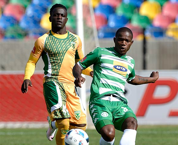 Lantshene Phalane from Bloemfontein Celtic FC and Kudakwashe Mahachi from Golden Arrows FC during the Absa Premiership match between Bloemfontein Celtic FC and Golden Arrows at Dr Molemela Stadium on 10 April 2016. ©Gerhard Steenkamp/Backpage Media