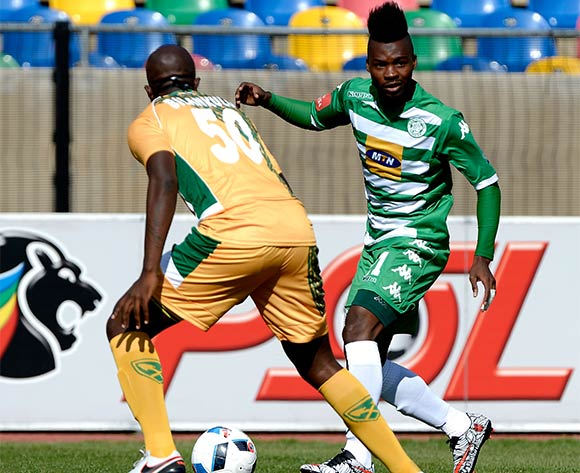 Fiston Abdoul from Bloemfontein Celtic FC and Musa Bilankulu from Golden Arrows FC during the Absa Premiership match between Bloemfontein Celtic FC and Golden Arrows at Dr Molemela Stadium on 10 April 2016. ©Gerhard Steenkamp/Backpage Media