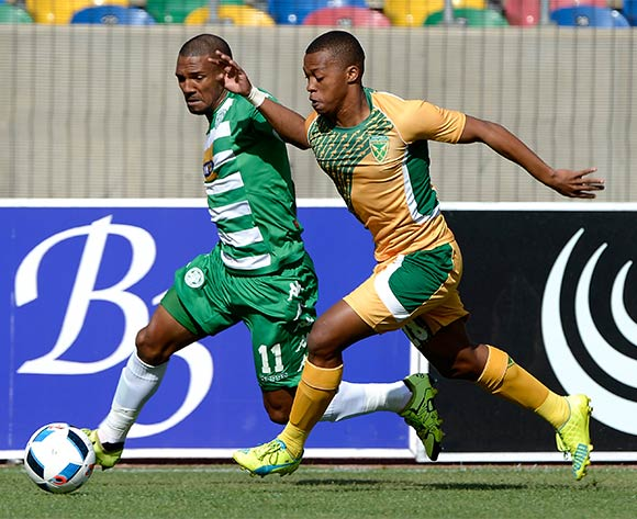 Wayde Jooste from Bloemfontein Celtic FC and Thembela Sikhakhane from Golden Arrows FC during the Absa Premiership match between Bloemfontein Celtic FC and Golden Arrows at Dr Molemela Stadium on 10 April 2016. ©Gerhard Steenkamp/Backpage Media
