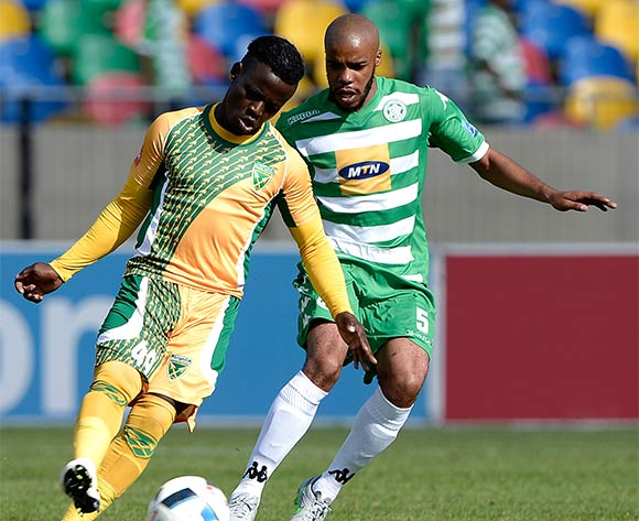 Gabadinho Mhango from Golden Arrows FC and Wandisile Letlabika of Bloemfontein Celtic FC during the Absa Premiership match between Bloemfontein Celtic FC and Golden Arrows at Dr Molemela Stadium on 10 April 2016. ©Gerhard Steenkamp/Backpage Media