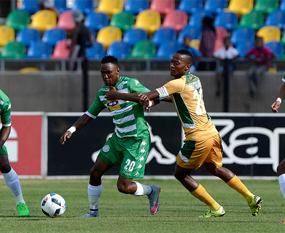 Thabang Matuka from Bloemfontein Celtic FC and Thembela Sikhakhane from Golden Arrows FC during the Absa Premiership match between Bloemfontein Celtic FC and Golden Arrows at Dr Molemela Stadium on 10 April 2016. ©Gerhard Steenkamp/Backpage Media
