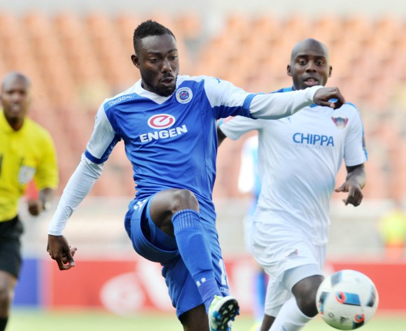 Dove Wome (l) of Supersport United challenged by Sandile Zuke (r) of Chippa United during the Absa Premiership match between Supersport United and Chippa United at the Peter Mokaba Stadium in Johannesburg, South Africa on April 10, 2016 ©Samuel Shivambu/BackpagePix
