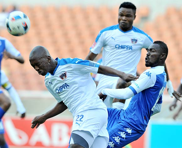 Walter Maponyane (l) of Chippa United challenged by Dove Wome (r) of Supersport United during the Absa Premiership match between Supersport United and Chippa United at the Peter Mokaba Stadium in Johannesburg, South Africa on April 10, 2016 ©Samuel Shivambu/BackpagePix