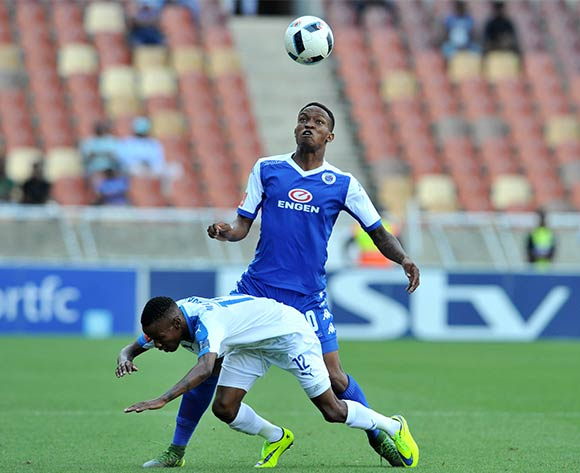 Joseph Molangoane of Chippa United challenged by Grant Kekana of Supersport United during the Absa Premiership match between Supersport United and Chippa United at the Peter Mokaba Stadium in Johannesburg, South Africa on April 10, 2016 ©Samuel Shivambu/BackpagePix