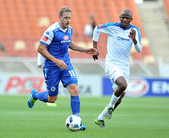 Michael Morton (l) of Supersport United challenged by Xola Mlambo (r) of Chippa United during the Absa Premiership match between Supersport United and Chippa United at the Peter Mokaba Stadium in Johannesburg, South Africa on April 10, 2016 ©Samuel Shivambu/BackpagePix