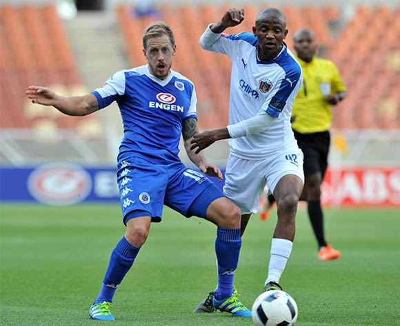 Michael Morton of Supersport United challenged by Xola Mlambo of Chippa United during the Absa Premiership match between Supersport United and Chippa United at the Peter Mokaba Stadium in Johannesburg, South Africa on April 10, 2016 ©Samuel Shivambu/BackpagePix
