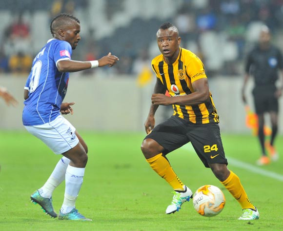 Tsepo Masilela of Kaizer Chiefs challenged by Bhongolethu Jayiya of Black Aces during the Absa Premiership match between Black Aces and Kaizer Chiefs at the Mbombela Stadium in Nelspruit, South Africa on April 12, 2016 ©Samuel Shivambu/BackpagePix