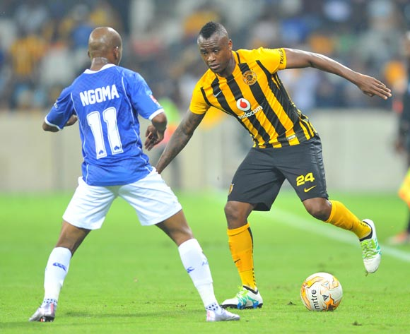 Tsepo Masilela of Kaizer Chiefs challenged by Aubrey Ngoma of Black Aces during the Absa Premiership match between Black Aces and Kaizer Chiefs at the Mbombela Stadium in Nelspruit, South Africa on April 12, 2016 ©Samuel Shivambu/BackpagePix
