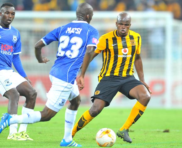 Mpho Matsi of Black Aces challenged by Willard Katsande of Kaizer Chiefs during the Absa Premiership match between Black Aces and Kaizer Chiefs at the Mbombela Stadium in Nelspruit, South Africa on April 12, 2016 ©Samuel Shivambu/BackpagePix