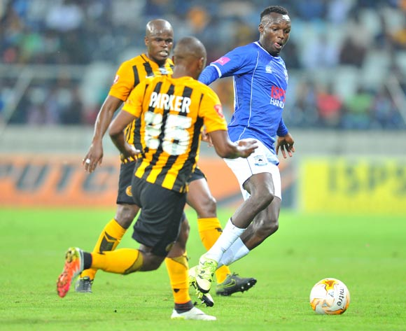 Sibusiso Masina of Black Aces challenged by Bernard Parker of Kaizer Chiefs during the Absa Premiership match between Black Aces and Kaizer Chiefs at the Mbombela Stadium in Nelspruit, South Africa on April 12, 2016 ©Samuel Shivambu/BackpagePix