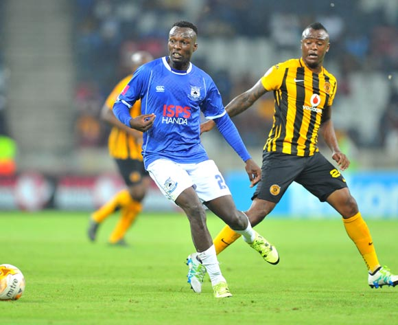 Sibusiso Masina of Black Aces challenged by Tsepo Masilela of Kaizer Chiefs during the Absa Premiership match between Black Aces and Kaizer Chiefs at the Mbombela Stadium in Nelspruit, South Africa on April 12, 2016 ©Samuel Shivambu/BackpagePix