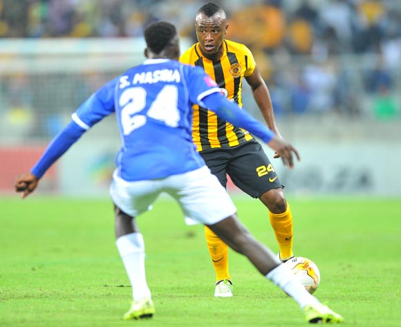 Tsepo Masilela of Kaizer Chiefs challenged by Sibusiso Masina of Black Aces during the Absa Premiership match between Black Aces and Kaizer Chiefs at the Mbombela Stadium in Nelspruit, South Africa on April 12, 2016 ©Samuel Shivambu/BackpagePix