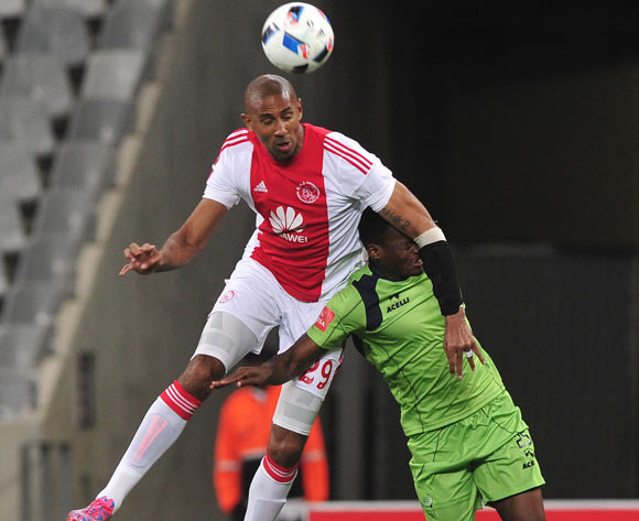 Nathan Paulse of Ajax Cape Town battles for the ball with Isaac Nhlapo of Platinum Stars during the Absa Premiership 2015/16 football match between Ajax Cape Town and Platinum Stars at Cape Town Stadium, Cape Town on 13 April 2016 ©Chris Ricco/BackpagePix