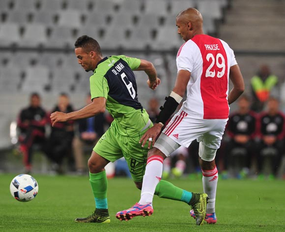 Ryan de Jongh of Platinum Stars evades challenge from Nathan Paulse of Ajax Cape Town during the Absa Premiership 2015/16 football match between Ajax Cape Town and Platinum Stars at Cape Town Stadium, Cape Town on 13 April 2016 ©Chris Ricco/BackpagePix