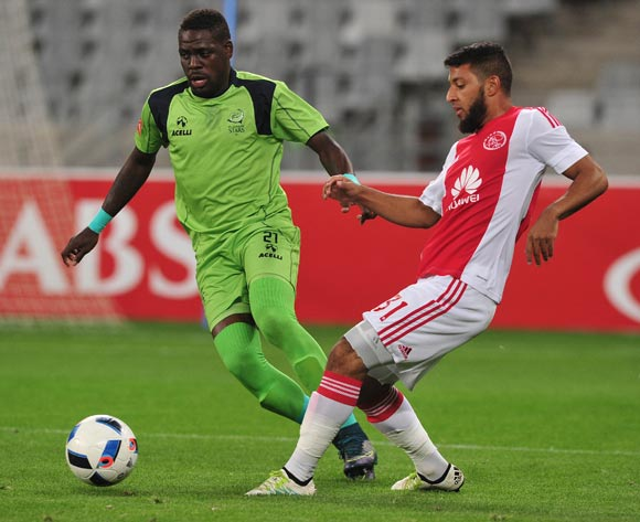 Riyaad Norodien of Ajax Cape Town evades challenge from Siyabonga Zulu of Platinum Stars during the Absa Premiership 2015/16 football match between Ajax Cape Town and Platinum Stars at Cape Town Stadium, Cape Town on 13 April 2016 ©Chris Ricco/BackpagePix