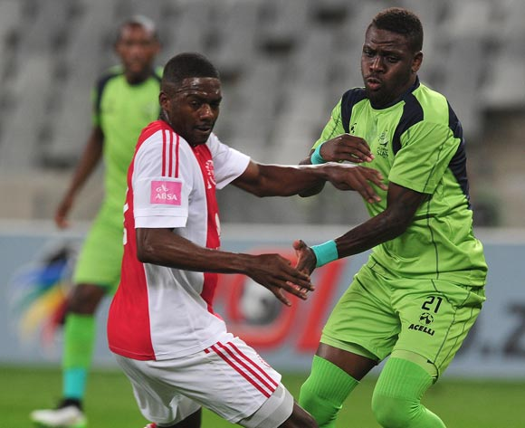 Abel Mabaso of Ajax Cape Town battles for the ball with Siyabonga Zulu of Platinum Stars during the Absa Premiership 2015/16 football match between Ajax Cape Town and Platinum Stars at Cape Town Stadium, Cape Town on 13 April 2016 ©Chris Ricco/BackpagePix