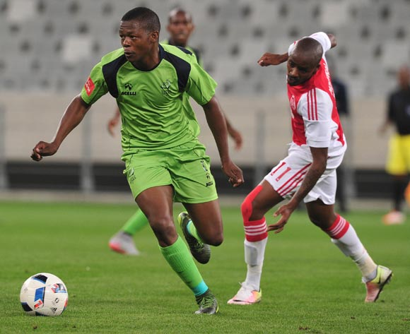 Ndumiso Mabena of Platinum Stars gets away from Bantu Mzwakali of Ajax Cape Town during the Absa Premiership 2015/16 football match between Ajax Cape Town and Platinum Stars at Cape Town Stadium, Cape Town on 13 April 2016 ©Chris Ricco/BackpagePix