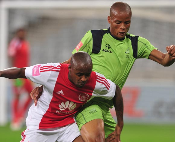 Solomon Mathe of Platinum Stars battles for the ball with Bantu Mzwakali of Ajax Cape Town during the Absa Premiership 2015/16 football match between Ajax Cape Town and Platinum Stars at Cape Town Stadium, Cape Town on 13 April 2016 ©Chris Ricco/BackpagePix