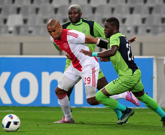 Nathan Paulse of Ajax Cape Town battles for the ball with Siyabonga Zulu of Platinum Stars and Emmanuel Mathias of Platinum Stars during the Absa Premiership 2015/16 football match between Ajax Cape Town and Platinum Stars at Cape Town Stadium, Cape Town on 13 April 2016 ©Chris Ricco/BackpagePix