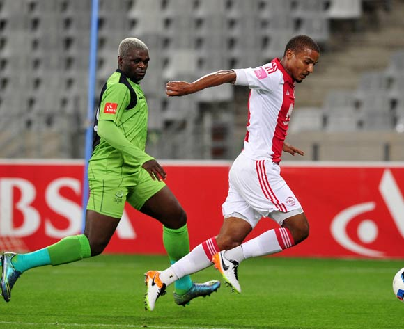 Rivaldo Coetzee of Ajax Cape Town evades challenge from Emmanuel Mathias of Platinum Stars during the Absa Premiership 2015/16 football match between Ajax Cape Town and Platinum Stars at Cape Town Stadium, Cape Town on 13 April 2016 ©Chris Ricco/BackpagePix
