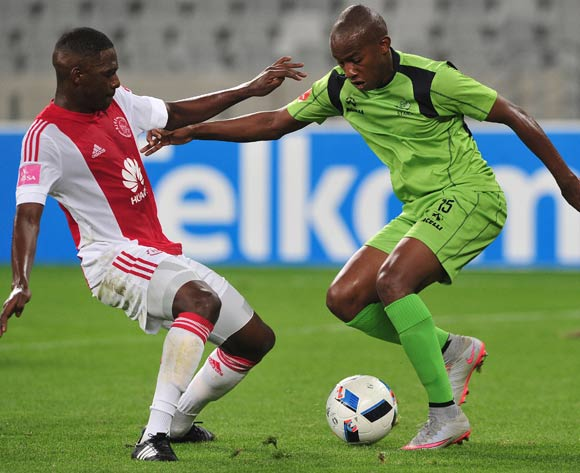 Sibusiso Msomi of Platinum Stars evades challenge from Abel Mabaso of Ajax Cape Town during the Absa Premiership 2015/16 football match between Ajax Cape Town and Platinum Stars at Cape Town Stadium, Cape Town on 13 April 2016 ©Chris Ricco/BackpagePix