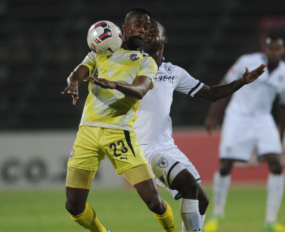 Linda Mntambo of Jomo Cosmos is challenged by Ben Motshwari of Bidvest Wits during the Absa Premiership match between Jomo Cosmos and Bidvest Wits on 13 April 2016 at Olen Park Stadium Pic Sydney Mahlangu/ BackpagePix