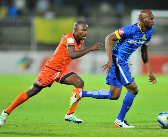 Ramahlwe Mphahlele of Mamelodi Sundowns challenged by Puleng Tlolane of Polokwane City during the Absa Premiership match between Polokwane City and Mamelodi Sundowns at the Old Peter Mokaba Stadium in Polokwane, South Africa on April 13, 2016 ©Samuel Shivambu/BackpagePix