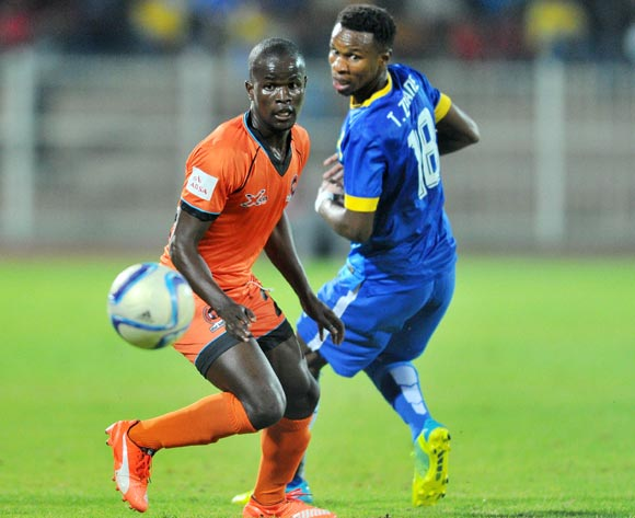 Simphiwe Hlongwane (l) of Polokwane City challenged by Themba Zwane (r) of Mamelodi Sundowns during the Absa Premiership match between Polokwane City and Mamelodi Sundowns at the Old Peter Mokaba Stadium in Polokwane, South Africa on April 13, 2016 ©Samuel Shivambu/BackpagePix