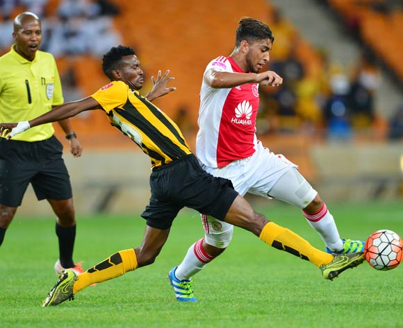 Lucky Baloyi of Kaizer Chiefs tackles Travis Graham of Ajax Cape Town during the 2015/16 Absa Premiership football match between Kaizer Chiefs and Ajax Cape Town at Soccer City, Johannesburg on 16 April 2016 ©Gavin Barker/BackpagePix