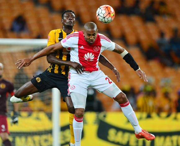 Nathan Paulse of Ajax Cape Town wins header against Erick Mathoho of Kaizer Chiefs  during the 2015/16 Absa Premiership football match between Kaizer Chiefs and Ajax Cape Town at Soccer City, Johannesburg on 16 April 2016 ©Gavin Barker/BackpagePix