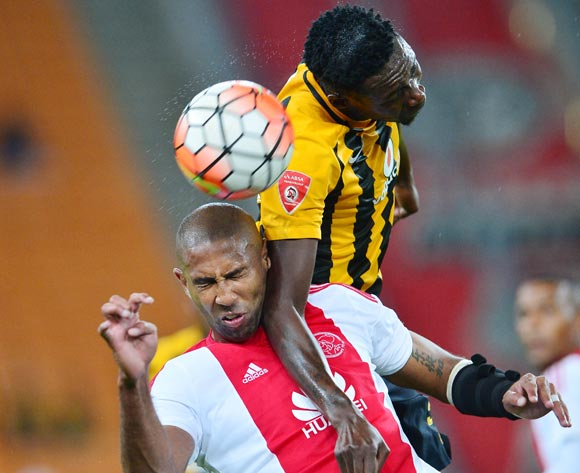 Erick Mathoho of Kaizer Chiefs wins header against Nathan Paulse of Ajax Cape Town during the 2015/16 Absa Premiership football match between Kaizer Chiefs and Ajax Cape Town at Soccer City, Johannesburg on 16 April 2016 ©Gavin Barker/BackpagePix