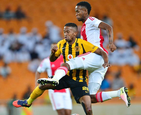 Mosa Lebusa of Ajax Cape Town wins ball against William Twala of Kaizer Chiefs during the 2015/16 Absa Premiership football match between Kaizer Chiefs and Ajax Cape Town at Soccer City, Johannesburg on 16 April 2016 ©Gavin Barker/BackpagePix