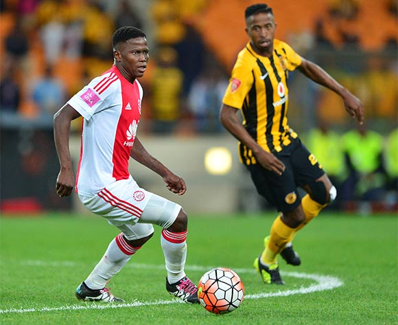 Ndiviwe Mdabuka of Ajax Cape Town and William Thwala of Kaizer Chiefs during the 2015/16 Absa Premiership football match between Kaizer Chiefs and Ajax Cape Town at Soccer City, Johannesburg on 16 April 2016 ©Gavin Barker/BackpagePix
