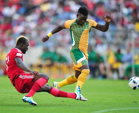Gabadinho Mhango of Golden Arrows tackled by Edwin Gyimah of Orlando Pirates during the Absa Premiership 2015/16 match between Golden Arrows and Orlando Pirates at Moses Mabhida Stadium, Durban Kwa-Zulu Natal on 16 April 2016 ©Muzi Ntombela/Backpagepix