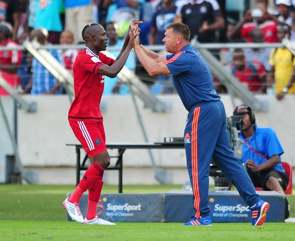 Tendai Ndoro of Orlando Pirates celebrates goal with Eric Tinkler, coach of Orlando Pirates during the Absa Premiership 2015/16 match between Golden Arrows and Orlando Pirates at Moses Mabhida Stadium, Durban Kwa-Zulu Natal on 16 April 2016 ©Muzi Ntombela/Backpagepix