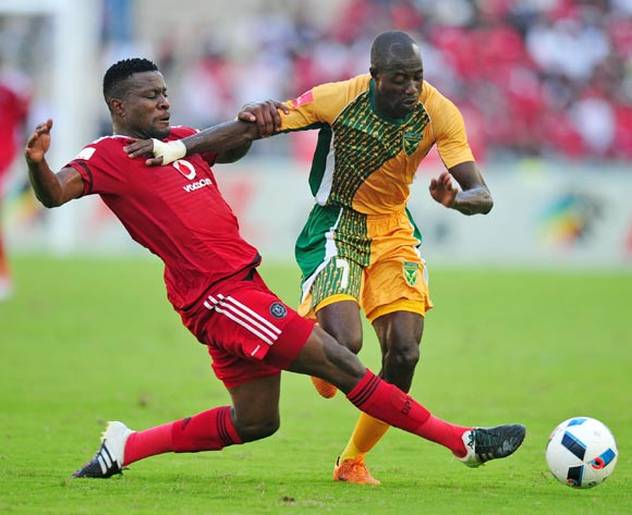 Deon Hotto of Golden Arrows tackled by Ntsikelelo Nyauza of Orlando Pirates during the Absa Premiership 2015/16 match between Golden Arrows and Orlando Pirates at Moses Mabhida Stadium, Durban Kwa-Zulu Natal on 16 April 2016 ©Muzi Ntombela/Backpagepix
