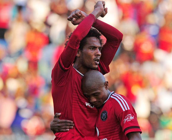 Issa Sarr of Orlando Pirates celebrates goal with teammate Thabo Qalinge (r) during the Absa Premiership 2015/16 match between Golden Arrows and Orlando Pirates at Moses Mabhida Stadium, Durban Kwa-Zulu Natal on 16 April 2016 ©Muzi Ntombela/Backpagepix