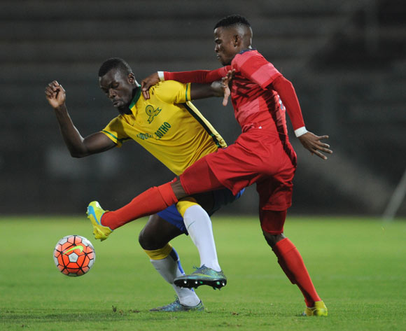 Tebogo Makobela of Jomo Cosmos challenges Soumahoro Bangaly of Mamelodi Sundowns during the Absa Premiership match between Mamelodi Sundowns and Jomo Cosmos on 16 April 2016 at Lucas Moripe Stadium Pic Sydney Mahlangu/ BackpagePix