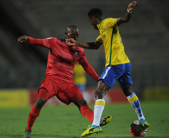 Sibusiso Vilakazi of Jomo Cosmos challenges Themba Zwane of Mamelodi Sundowns during the Absa Premiership match between Mamelodi Sundowns and Jomo Cosmos on 16 April 2016 at Lucas Moripe Stadium Pic Sydney Mahlangu/ BackpagePix