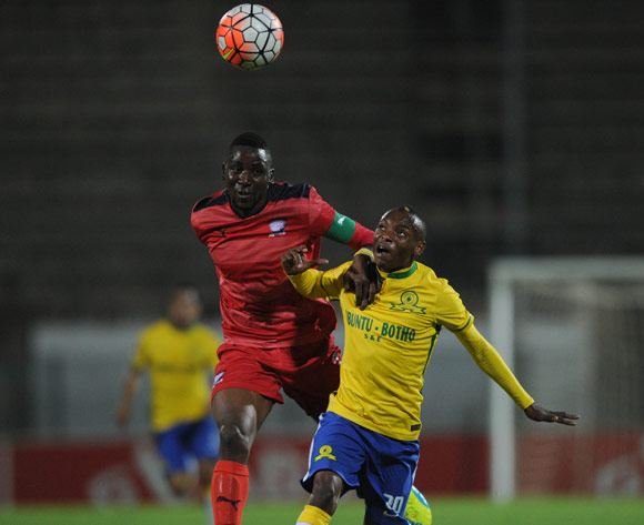 Frederick Nsabiyumva of Jomo Cosmos challenges Khama Billiat of Mamelodi Sundowns during the Absa Premiership match between Mamelodi Sundowns and Jomo  Cosmos on 16 April 2016 at Lucas Moripe Stadium Pic Sydney Mahlangu/ BackpagePix