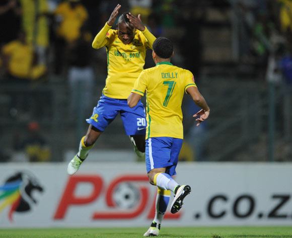 Khama Billiat of Mamelodi Sundowns(l) celebrates a goal with teammate Keagan Dolly of Mamelodi Sundowns during the Absa Premiership match between Mamelodi Sundowns and Jomo  Cosmos on 16 April 2016 at Lucas Moripe Stadium Pic Sydney Mahlangu/ BackpagePix