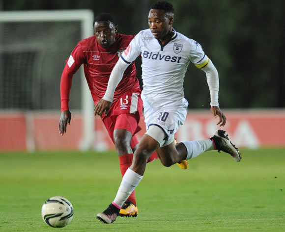 Sibusiso Vilakazi of Bidvest Wits is challenged by Lucky Mohomi of Free State Stars during the Absa Premiership match between Bidvest Wits and Free State Stars on 16 April 2016 at Bidvest Stadium Pic Sydney Mahlangu/ BackpagePix