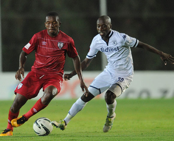 Ben Motshwari of Bidvest Wits challenges  Sello Jaftha of Free State Stars during the Absa Premiership match between Bidvest Wits and Free State Stars on 16 April 2016 at Bidvest Stadium Pic Sydney Mahlangu/ BackpagePix