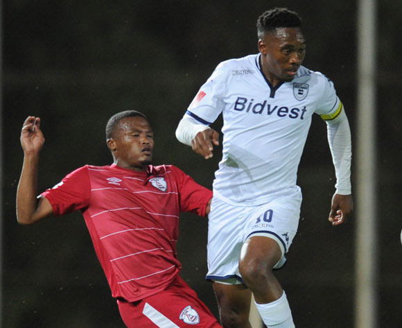 Sibusiso Vilakazi of Bidvest Wits is challenged by Angelo Kerspuy of Free State Stars during the Absa Premiership match between Bidvest Wits and Free State Stars on 16 April 2016 at Bidvest Stadium Pic Sydney Mahlangu/ BackpagePix