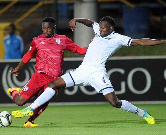 Bongani Khumalo of Bidvest Wits tackles Moeketsi Sekola of Free State Stars  during the Absa Premiership match between Bidvest Wits and Free State Stars on 16 April 2016 at Bidvest Stadium Pic Sydney Mahlangu/ BackpagePix